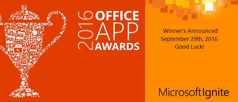 The 2016 Office App Awards will be announced at Microsoft Ignite