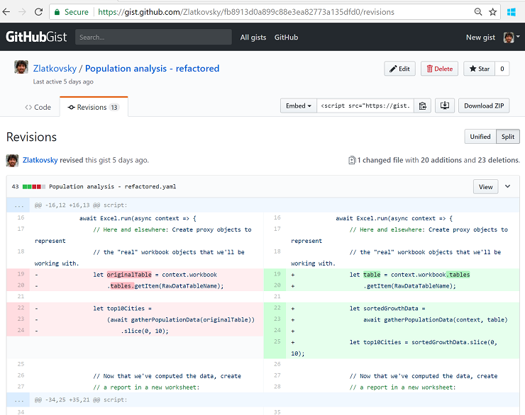 """Viewing the revision history on GitHub"""""""