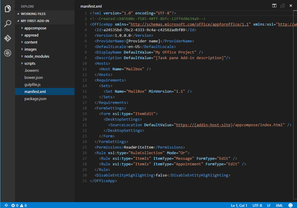 The generated project in Visual Studio Code