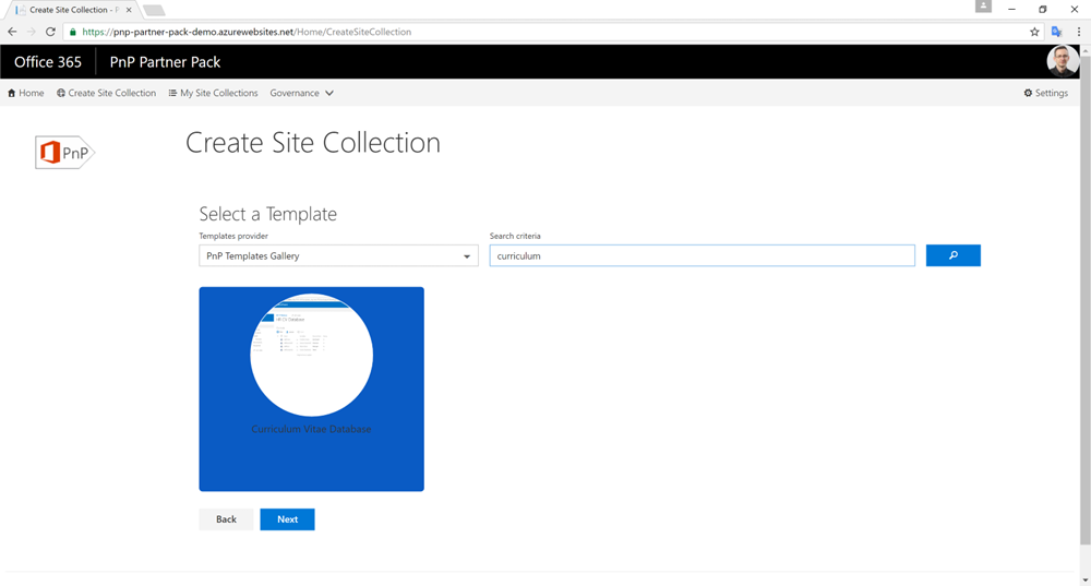 Self Service Site Collection creation UI in PnP Partner Pack showing template search result from template gallery