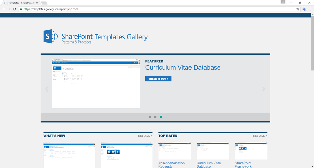 Office dev center pnp templates gallery open source for Sharepoint responsive template