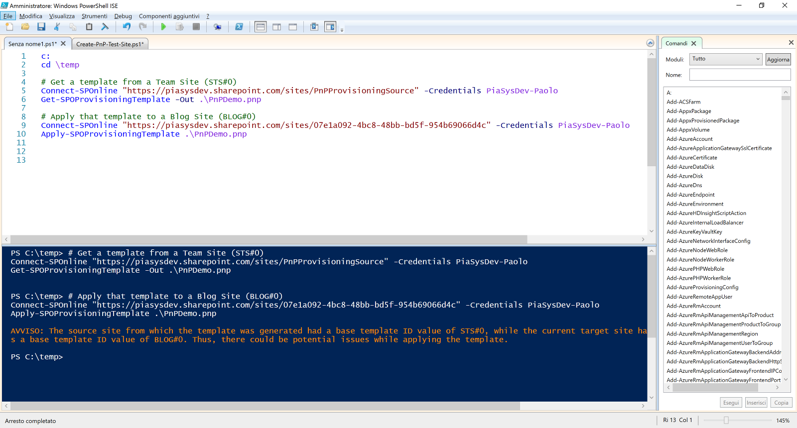 PnP PowerShell CmdLets used in PowerShell ISE editor for extracting and importing templates from existing sites