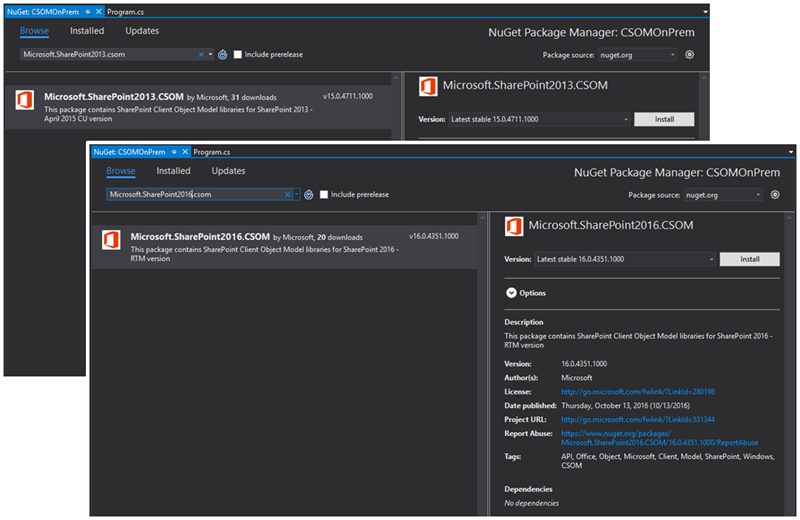 Screenshots from NuGet gallery with SP2013 and SP2016 packages shown in results