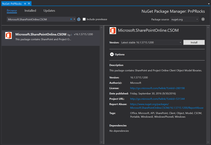 Nuget Gallery Picture with the latest version