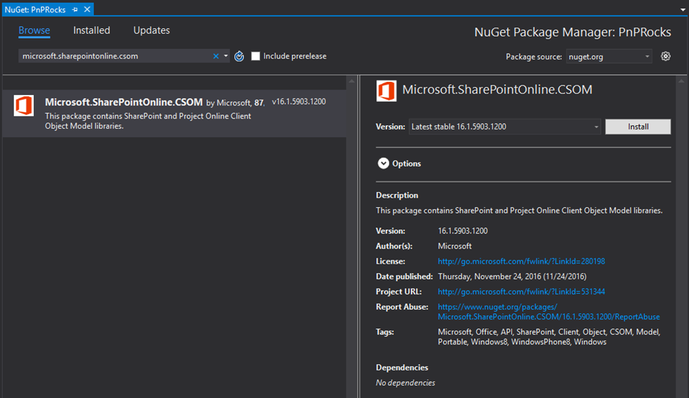 Picture of SharePoint Online CSOM NuGet package from NuGet Gallery with version 16.1.5903.1200