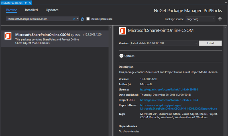 16.1.6008.1200 version shown from the NuGet gallery UI from Visual Studio 2015