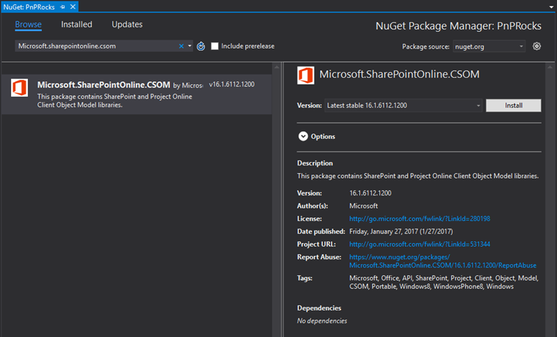 Screenshot of the CSOM NuGet package at Visual Studio Nuget Gallery view