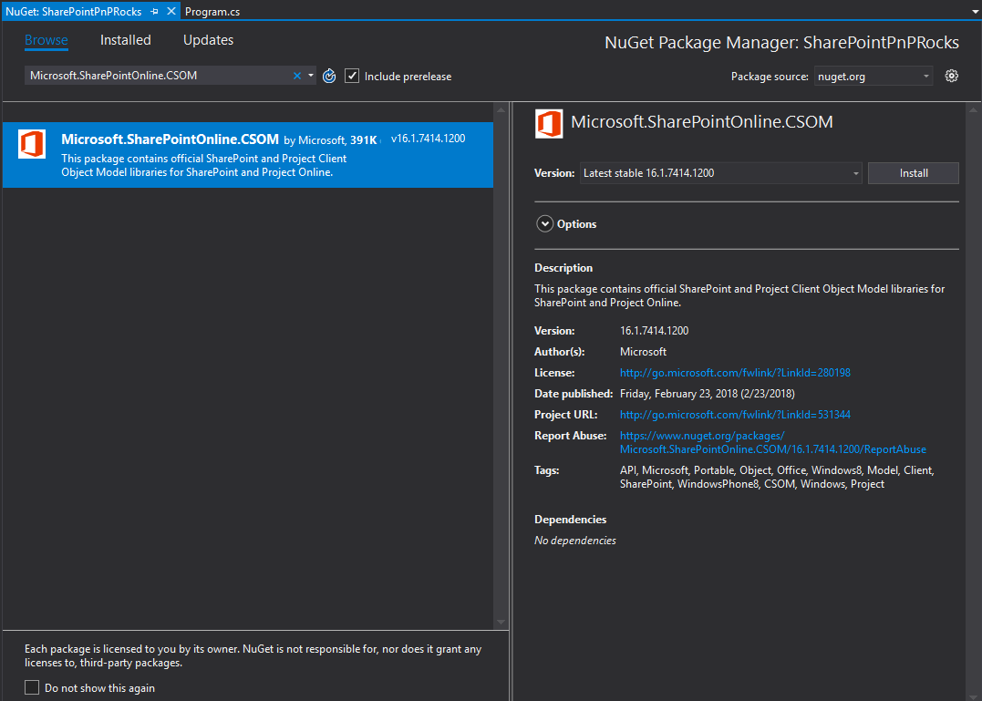CSOM NuGet at VS2017 NuGet manager