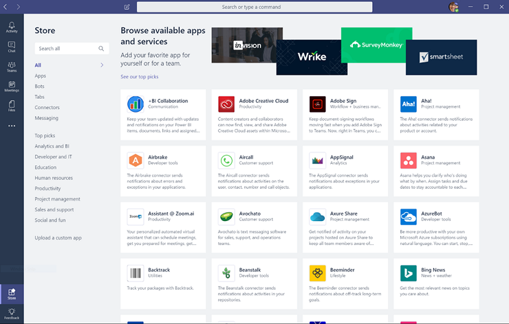 View Microsoft Teams Partner Apps