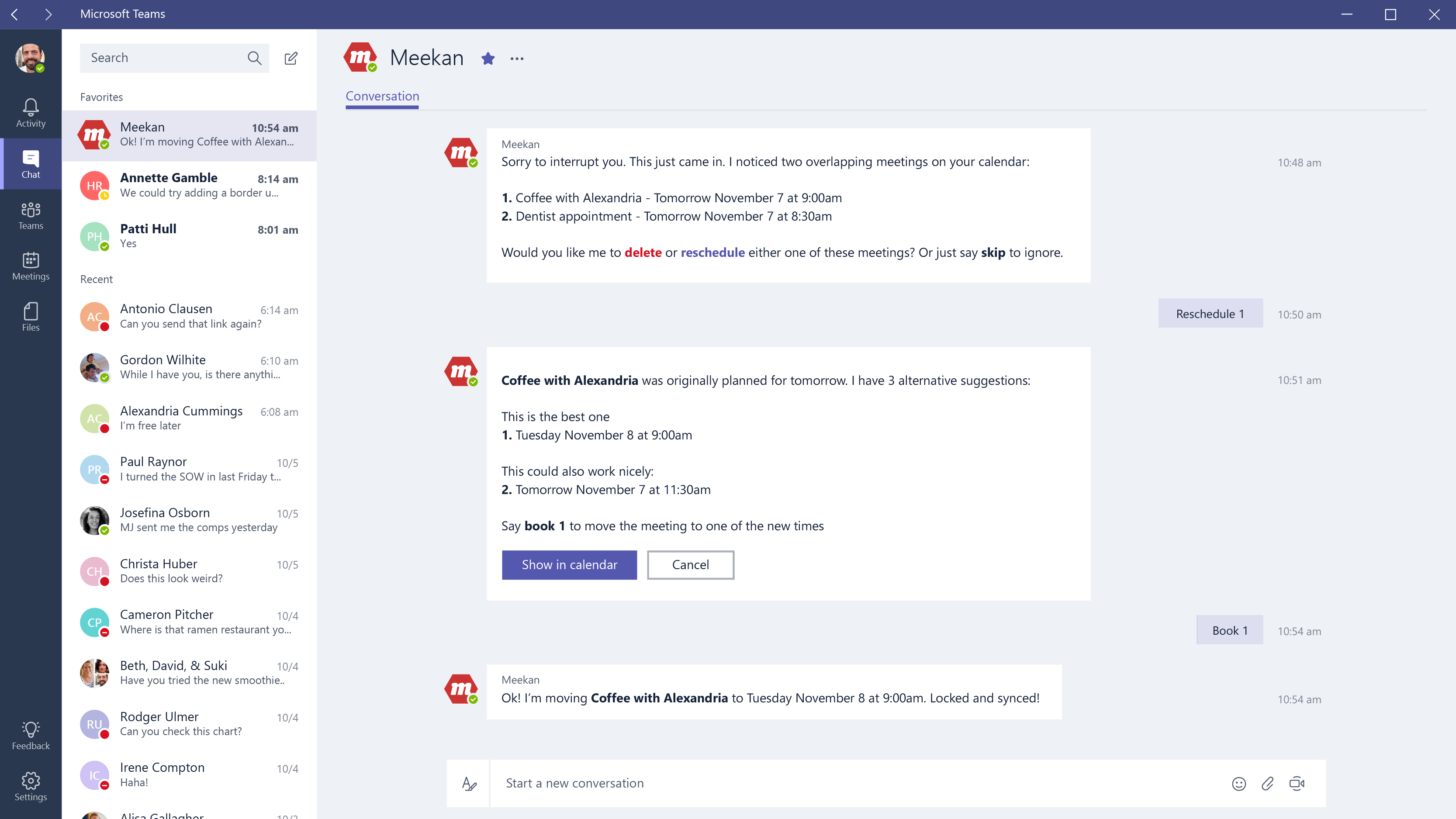 Screenshot of bots in Microsoft Teams
