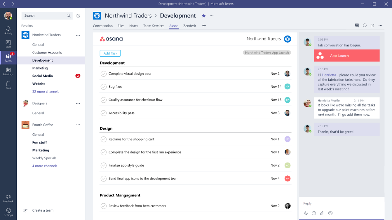 Screenshot of tabs in Microsoft Teams