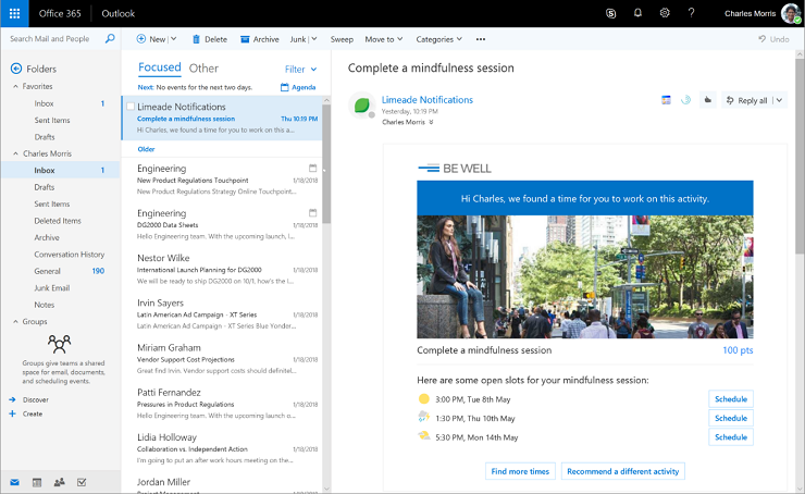 Conversations become actions in Outlook