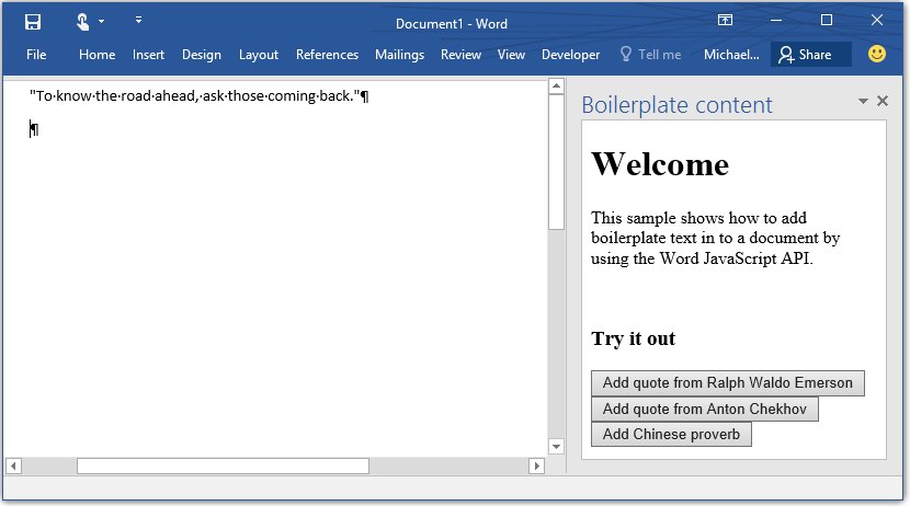 build your first word add in docs office dev center