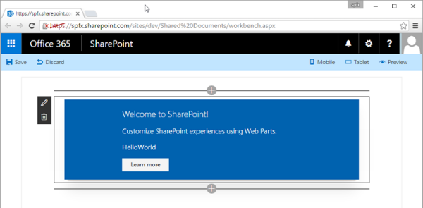 HelloWorld web part running in SharePoint Workbench running in a SharePoint Online site