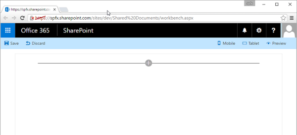 SharePoint Workbench running in a SharePoint Online site