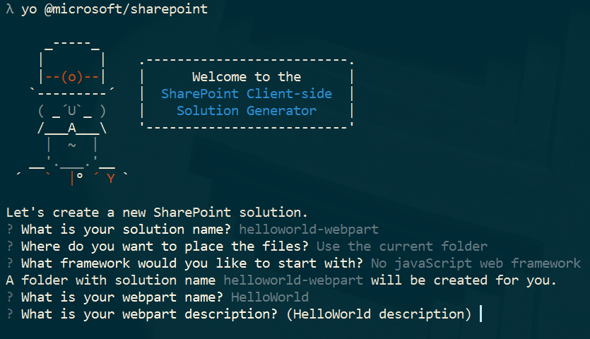 Yeoman SharePoint generator prompts to create a web part client-side solution